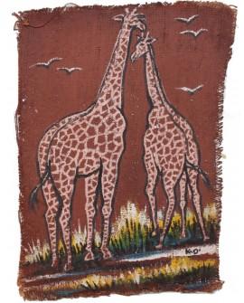Peinture sur toile de jute - La Promenade des Girafes