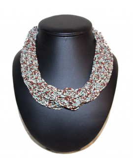 Collier ethnique perle gris/marron
