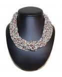 Collier ethnique perle gris/marron