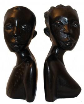 Bustes en bois d'ébène statuettes couple africain