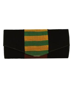 Pochette noire motif Kenté vert