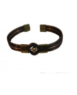 Bracelet artisanal en cuir - bronze et cuivre