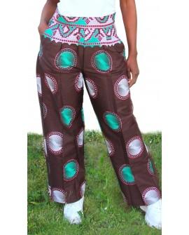 Pantalon taille haute imprimé wax