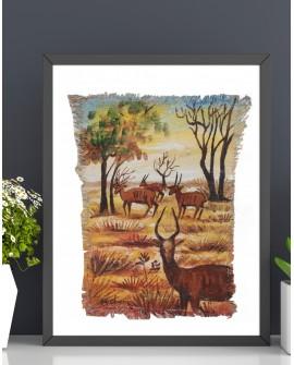 Peinture sur toile de jute La marche des gazelles